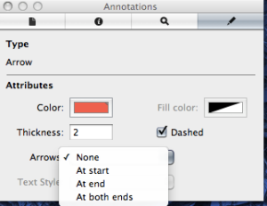 Annotations Inspector Arrows